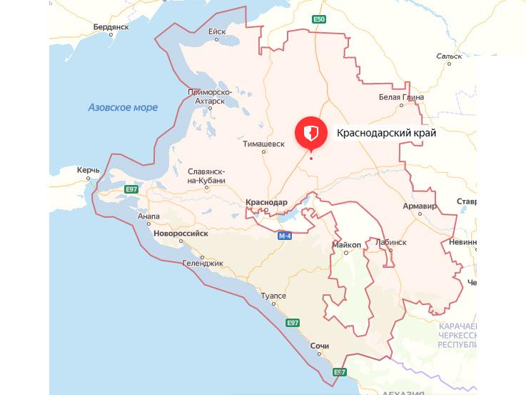 карта Краснодарского края с городами